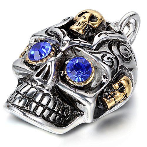 JewelryWe Schmuck Edelstahl herrschsüchtige große schwere Totenkopf Anhänger mit 55cm Kette, Herren Männer Halskette für Vatertag Geburtstag, Silber Gold Blau, mit Geschenk Tüte JewelryWe http://www.amazon.de/dp/B00RL9FET0/ref=cm_sw_r_pi_dp_HsBIvb1NXZWA1