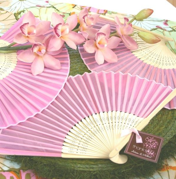 Wedding Fan With Thank You Tag