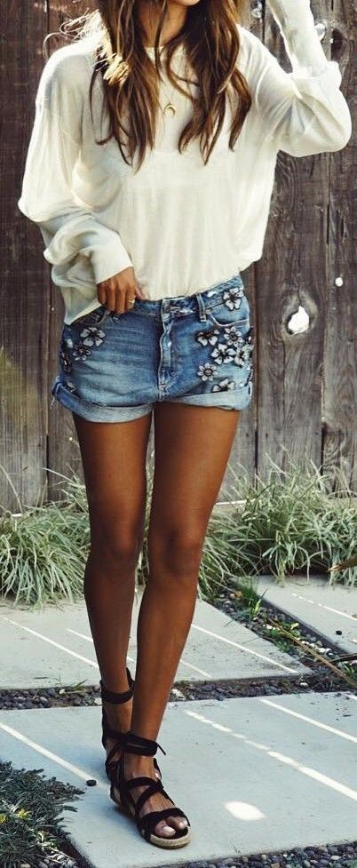 bohemian vibes embroidered shorts mixing with a white top