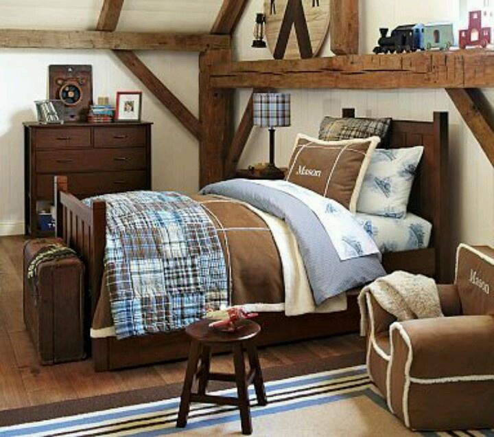 pottery barn kids  boy bedroom design brown furniture