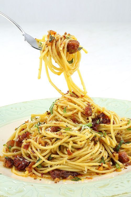 Spicy Spaghetti with Chorizo. Very easy. Cheated with the breadcrumb mixture and melted the butter in the microwave and then mixed it in.