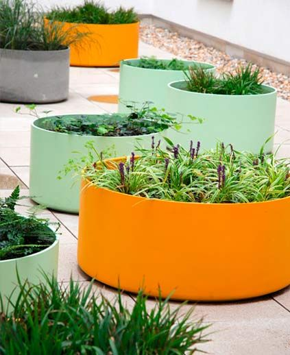 round colorful planters
