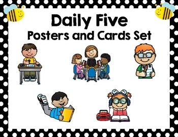 Keep your classroom organized and your students informed with these Daily Five posters and cards. These informative posters will look great in your room! The Daily Five posters have explanations of each center and lists what is expected of the students and teacher