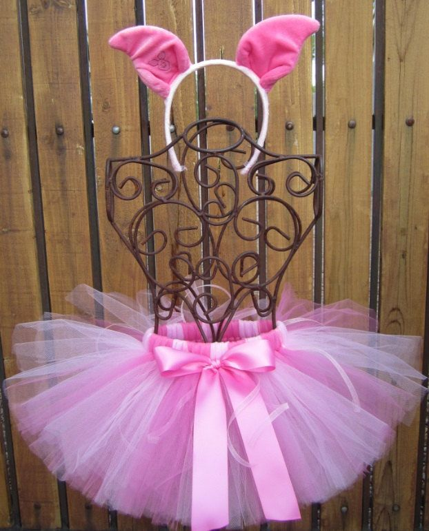 Piglet Inspired Halloween Costume Tutu, Includes Tutu, Ear Headband and Attachable Tail  - Sizes 18, 24 Months, 2t, 3t, 4t, 5t by taddletellshop on Etsy