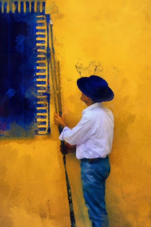 Spanish Man at the Yellow Wall (Ltd Edition of only 20 Fine Art Giclee Prints from an original photograph) (2013) Manipulated photograph (Giclée) by Jenny Rainbow | Artfinder