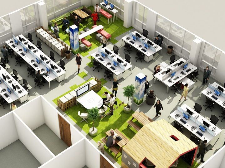 Agile working examples workplace pinterest office for Open plan office design