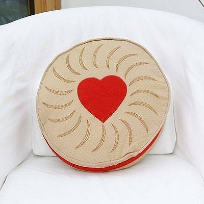 Sass and Belle Designer Jammy Dodger Cream Biscuit Cushion with Inner 30cm