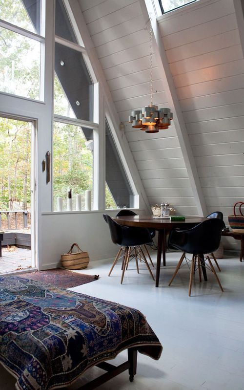 love this: Slanted Wall, Cabin, Home Interiors, Beautiful Home, High Ceilings, Afram, A Frames, Beautiful Bedrooms, Lots Of Window