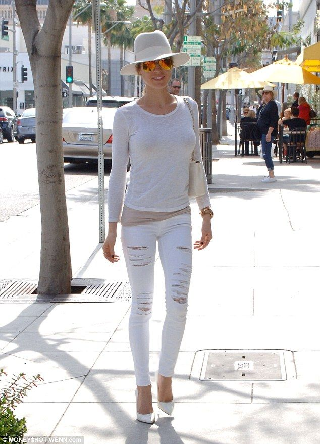Angelic: Kristin Cavallari wore head-to-toe white for a hair appointment at the Brighton H...