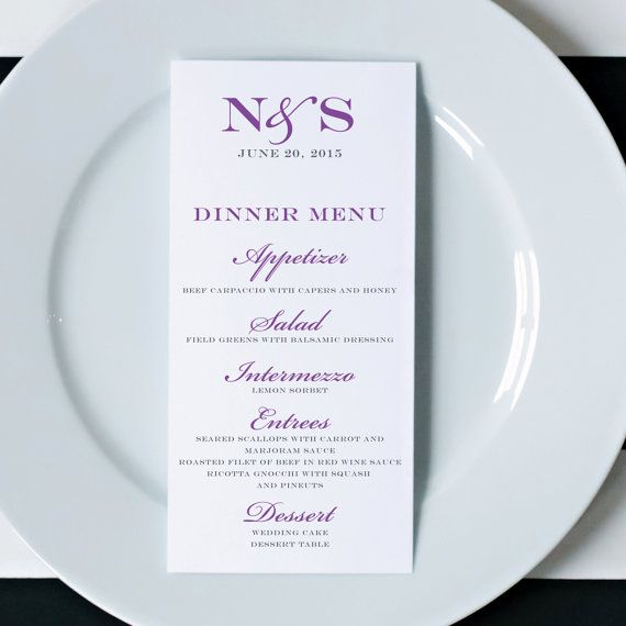 Wedding Menus Printed Wedding Menu Cards Dinner by DesignedByME