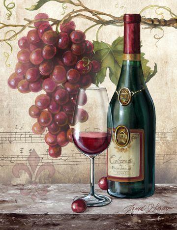 "Wine Bottle & glass Art - ""Vin Rouge Riche"" by JANET STEVER (Vintage Typography) #grapes"