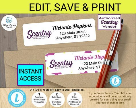 Scentsy Independent Consultant Return Address Label Design Template ★★ DIGITAL FILES ★★ This listing is for an Edit-It-Yourself Online Template. NO physical product will be shipped. Print-at-home or have them printed professionally. I offer professional printing services, for an