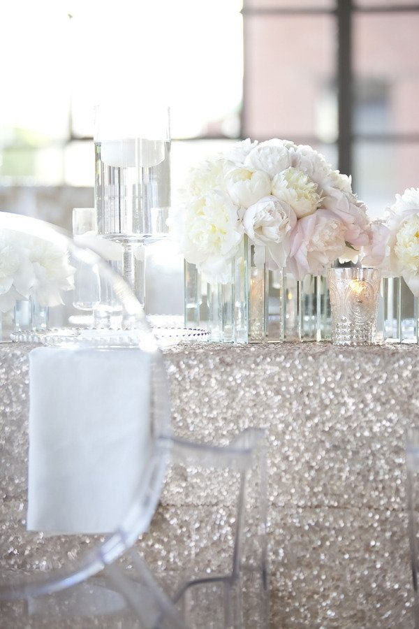 Sequin table cloth, candles, candleholders, flowers