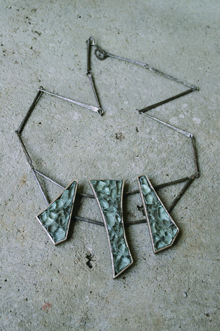 glass + silver neckpiece