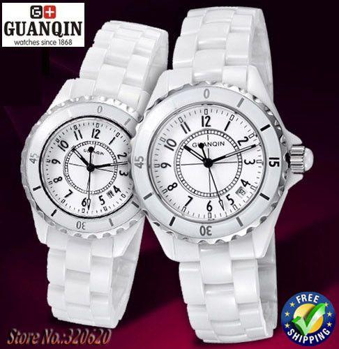 Couple Watch Quartz Original GUANQIN Sapphire Waterproof Ceramic Black White Watches for Men & Women