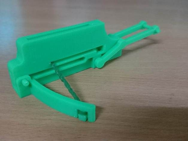 The repeating crossbow is a Chinese weapon in history. Here is a miniature one that you can print at home. it has a same mechanism as the original. The arrows are made with plastic from cotton buds, so it not dangerous for kids. Here is a Repeating Crossbow information https://en.wikipedia.org/wiki/Repeating_crossbow and here is my Assembly guide and testing video. https://youtu.be/kGNJxQwt4DQ Enjoy :D