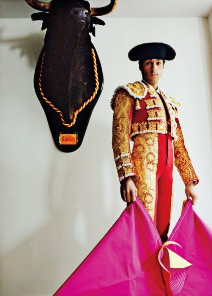 """The well-dressed bullfighter—like Rafael de Julia—knows that the only place to go for a couture trajes de luces (""""suit of lights"""") is Justo Algaba's workshop, near the Puerta del Sol. There are only five matador tailors in the world, and like Algaba, they all live in Madrid."""