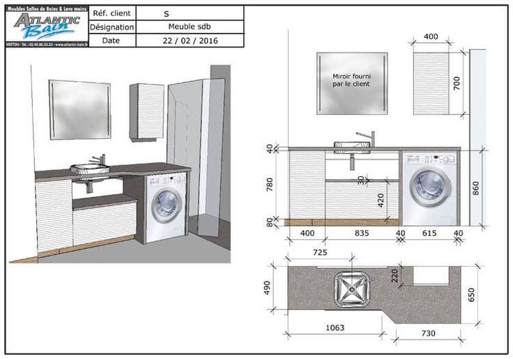 un meuble au design moderne avec lave linge et panier int gr bricolage pinterest b der. Black Bedroom Furniture Sets. Home Design Ideas