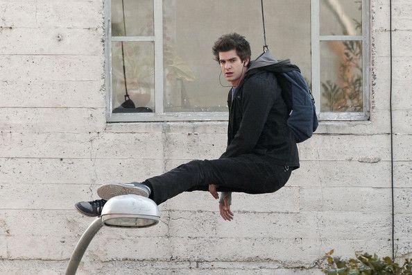 Andrew Garfield as Peter Parker   ... andrew garfield peter parker andrew garfield films a stunt where he