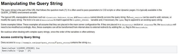 Manipulating the Query String
