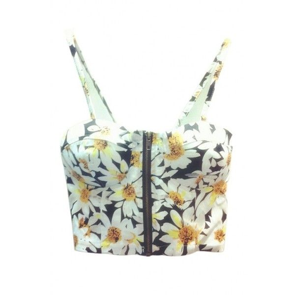 LUCLUC Black Daisy Floral Printed Strappy Crop Top ($13) ❤ liked on Polyvore featuring tops, crop top, lucluc, shirts, floral print shirt, strap crop top, floral shirt and floral print top