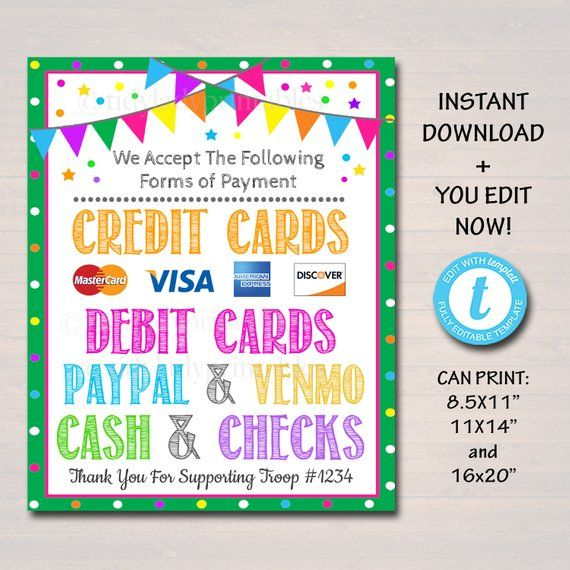 graphic regarding We Accept Credit Cards Printable Sign titled EDITABLE Credit rating Card Indication, Fundraising Booth, Bake Sale