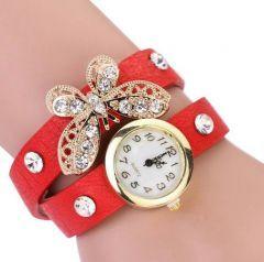 Kırmızı Deri Kemer Tipi Kelebekli Bayan Saat