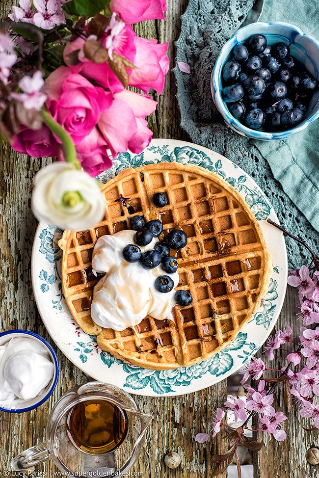 Blueberry buttermilk Belgian waffles with whipped coconut cream – wonderful for breakfast, brunch or dessert!