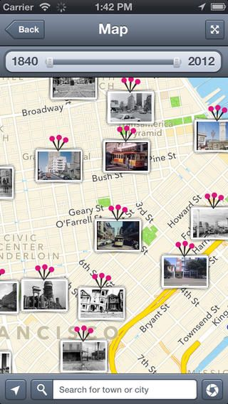 History Pin app - older photos of places layered over more recent / current photos of the same place. Check out your old neighbourhood! Once Upon a Lesson