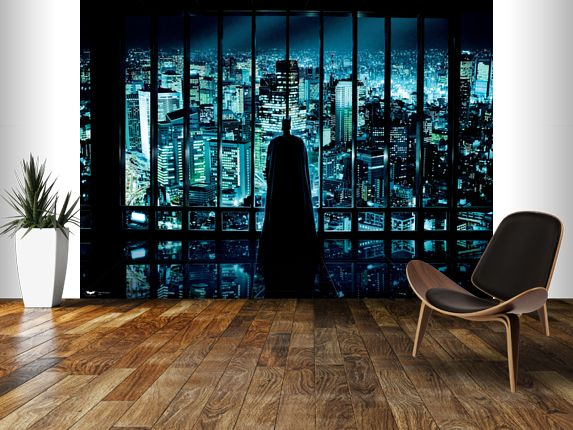 The dark knight watching over gotham wall mural room for Dark knight mural