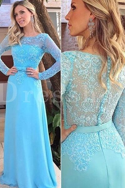Noble Long Sleeves A-line Lace Prom Dresses - Prom Dresses 2017 - Prom Dresses - Special Occasion Dresses - Dresshopau.com