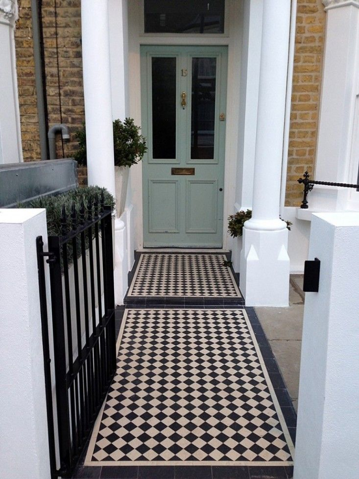 Victorian mosaic tile front path London curb appeal ; Gardenista grey door