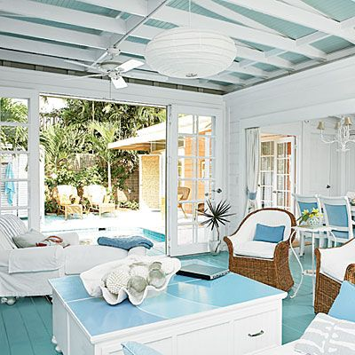Key West Family Room Decorated in Blue and White < Key West Style Interiors and Homes - Coastal Living