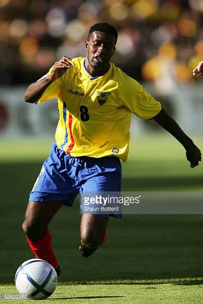 Edison Mendez of Ecuador in action during the 2006 World Cup Qualifier South American Group match between Ecuador and Paraguay at the Atahualpa...