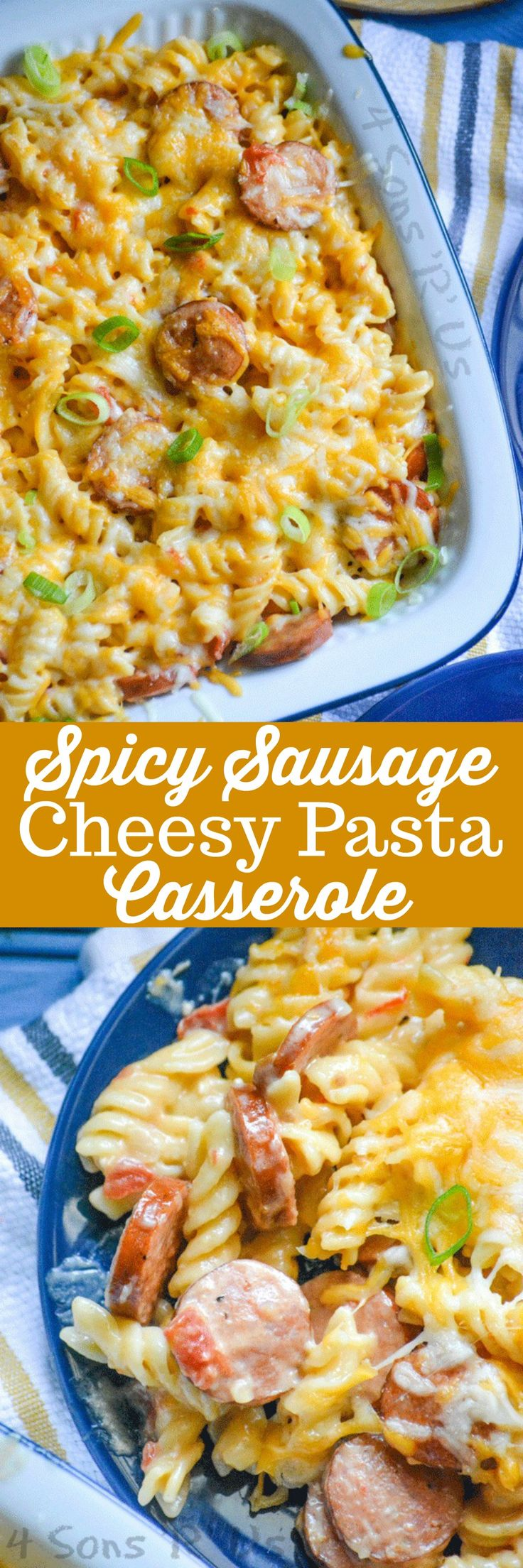 In less than 30 minutes you can have this Spicy Sausage and Pasta Casserole dinner whipped up. A little bit spicy, a little bit creamy, and a whole lot of cheesy-- this one dish casserole has it all.