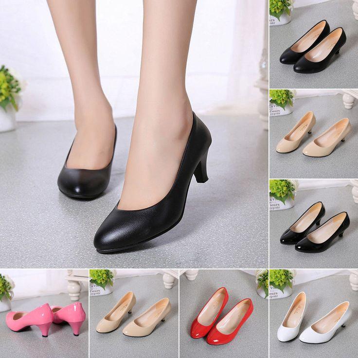 Womens Stiletto Mid High Heel Kitten Work Casual Smart Court Shoes Pump Sandals #Unbranded #KittenHeels #Casual