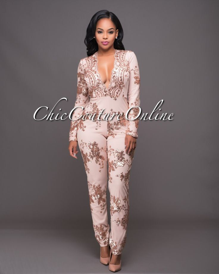 Chic Couture Online - Conna Blush Rose Gold Sequins Jumpsuit.(http://www.chiccoutureonline.com/conna-blush-rose-gold-sequins-jumpsuit/)