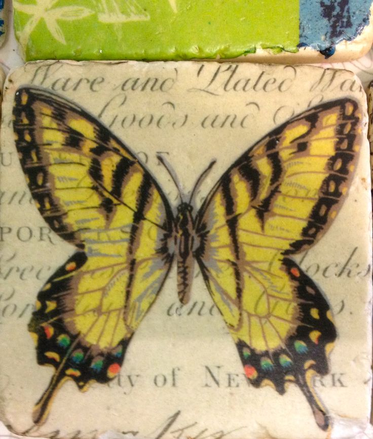 Yellow butterfly - tile style coaster.