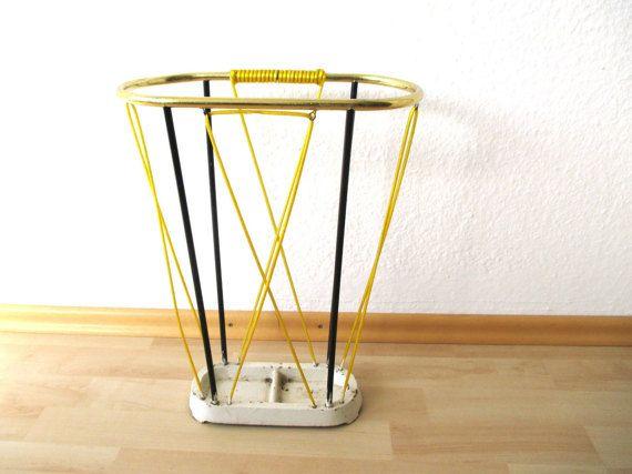 Umbrella Stand Midcentury Umbrella Holder Gold Yellow Black Walking Stick Holder German Original Home Accessory Midcentury Home Decor