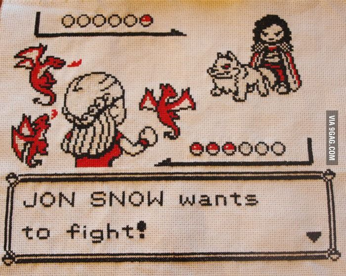 cute Pokemon Battle Game of Thrones Cross Stitch