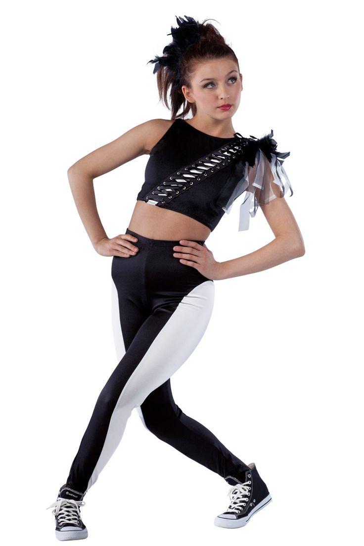 15391 Dark Horse | Hip Hop Funk Dance Costumes | Dansco 2015 | Black Spandex Crop Top With White ...