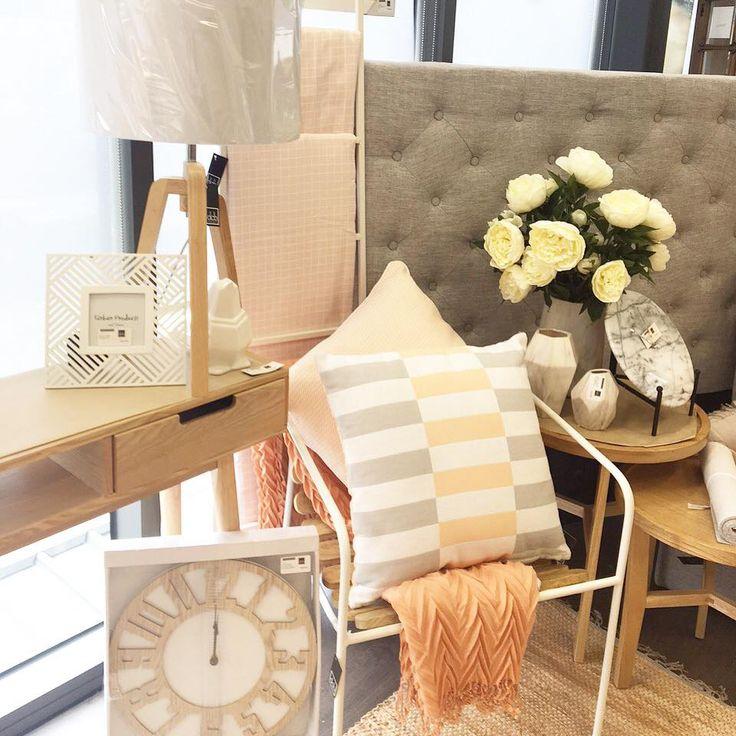 Blonde timber + Blush pink + Grey #shoplocal #home #homewares #cushions #bedhead #furniture #blush #timber