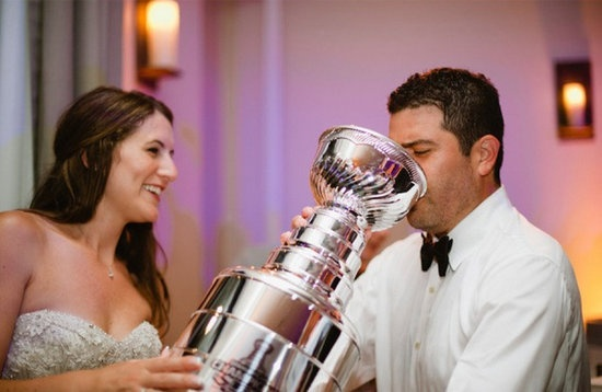 "Instead of feeding each other cake at your wedding why not drink out of a ""Stanley Cup"" #Hockey #Wedding"