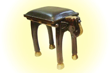 Wooden Elephant Shaped Bench  With Leather Seat  MRP - Rs. 3995