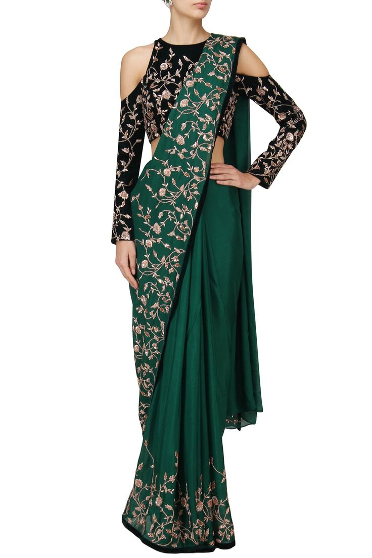 PINK PEACOCK COUTURE Green Embroidered Saree with Blue Blouse. Shop Now! #indianfashion #indiandesigners #fashion #embroidered #perniaspopupshop #happyshopping