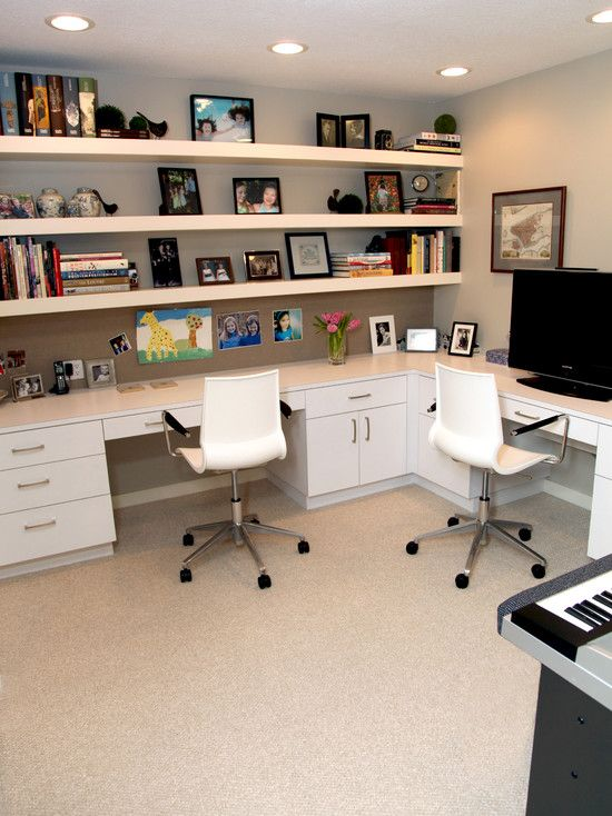 His and her office space...plus room for the keyboard..score!