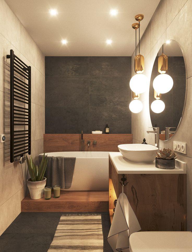 Stunning modern bathroom with a soaking tub you&#3…