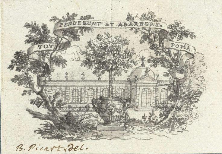 Bernard Picart | Vignet met boom in pot voor gebouw, Bernard Picart, 1683 - 1733 | Ontwerp voor een prent.
