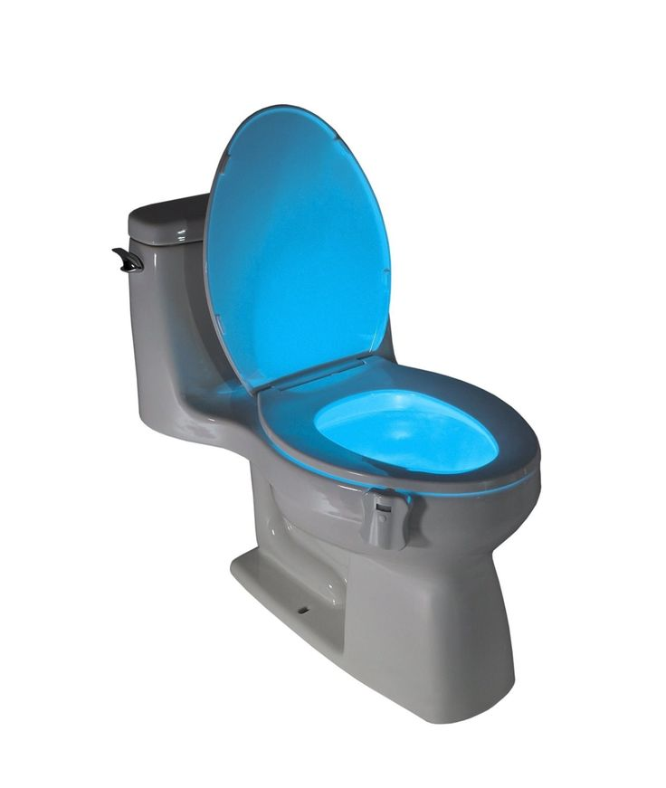 """A motion activated <a rel=""""nofollow"""" href=""""http://amzn.to/1RWAmU5"""" target=""""_blank"""">nightlight</a> for your toilet bowl, so you don't have to murder your eyes with bright lights in the middle of the night."""