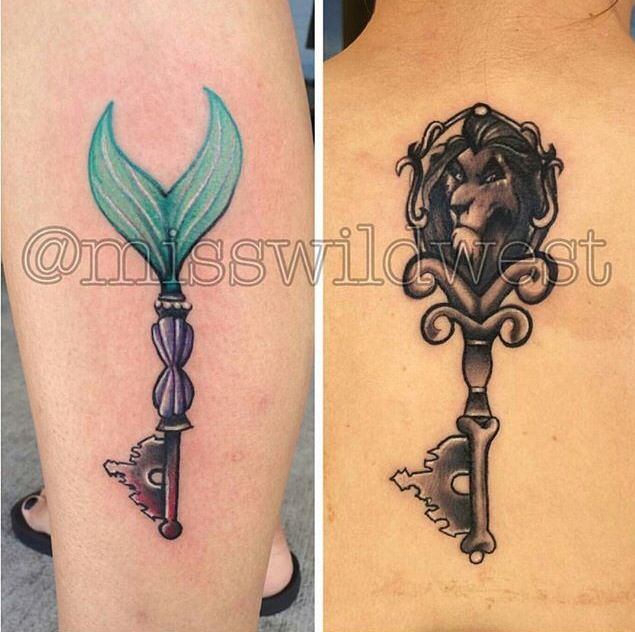 The little mermaid and lion king key tattoos